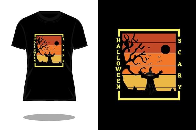 Design de camiseta vintage retrô assustador para o dia das bruxas