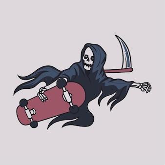 Design de camiseta vintage sombrio andando de skate em posição de vôo e segurando a ilustração do reaper da placa do skate