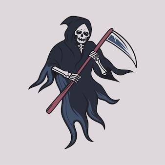Design de camiseta vintage. visão frontal do ceifador com uma grande ilustração de machado