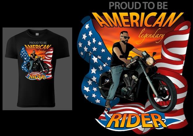 Design de camisetas american rider com motocicleta e bandeira americana