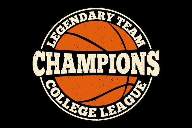 Design de camisetas com campeões de tipografia lendária liga universitária em estilo vintage