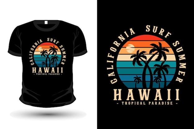 Design de camisetas com silhueta de mercadorias de verão surf na califórnia