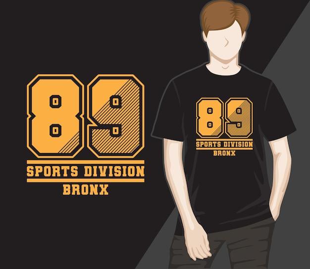 Design de camisetas da divisão de esportes oitenta e nove
