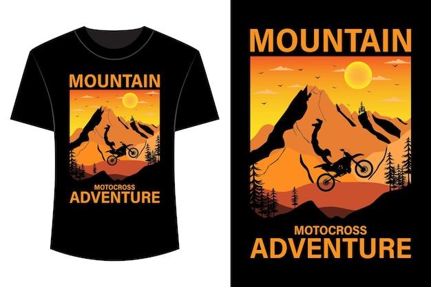 Design de camisetas de aventura de motocross de montanha