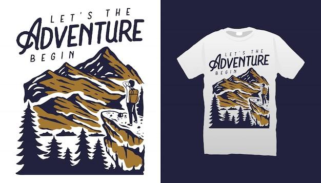 Design de camisetas de aventura na montanha