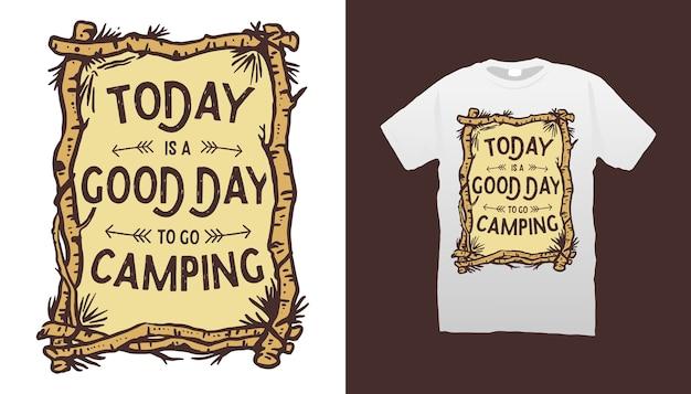 Design de camisetas de citações de acampamento