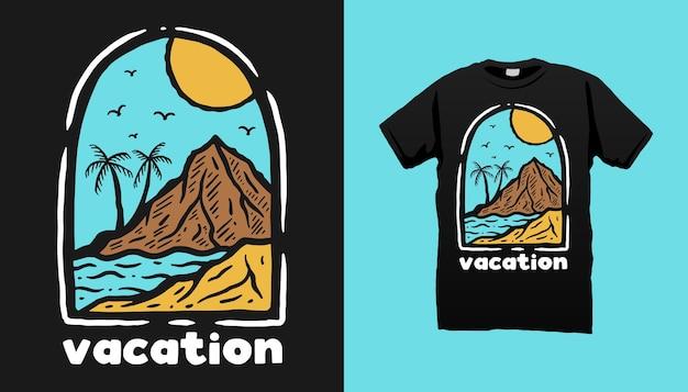Design de camisetas de férias na praia