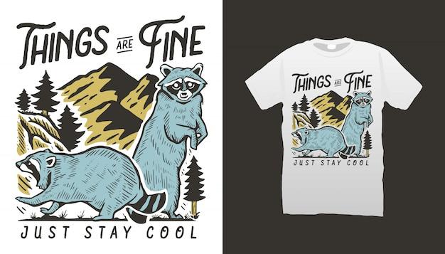 Design de camisetas de guaxinim e montanha