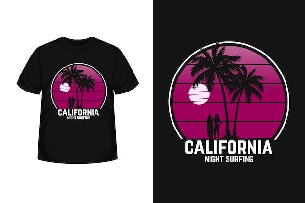 Design de camisetas de silhueta de mercadorias surfando à noite na califórnia