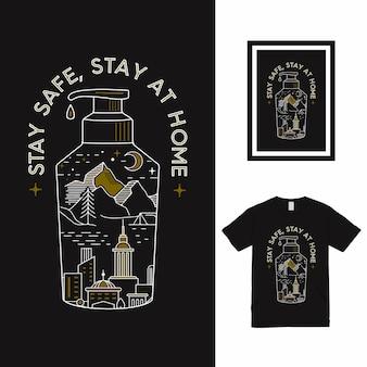 Design de camisetas fique em segurança fique em casa