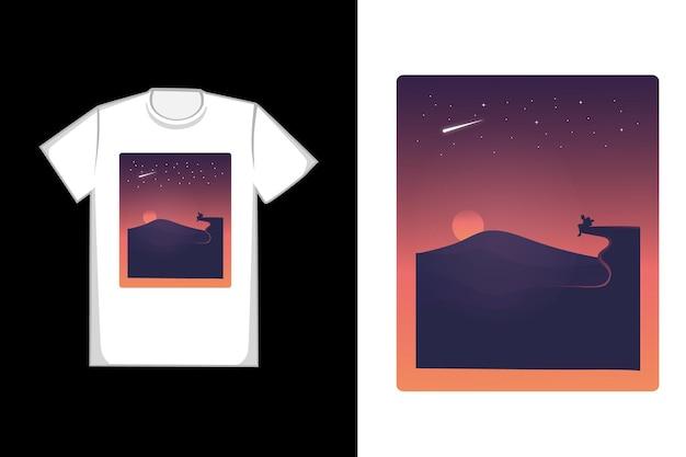 Design de camisetas o sol se põe em tons de laranja e preto