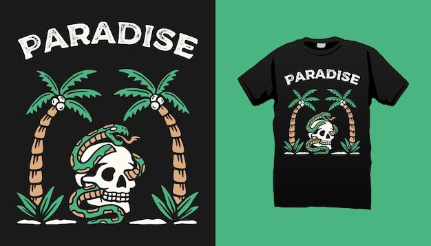 Design de camisetas skull snake paradise