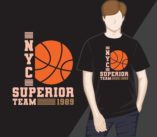 Design de camisetas tipográficas de basquete de nova york