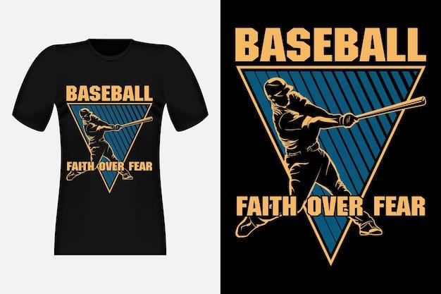 Design de camisetas vintage da silhueta faith over fear de beisebol