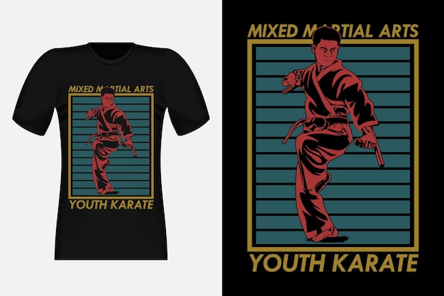 Design de camisetas vintage para artes marciais mistas, caratê juvenil, silhueta