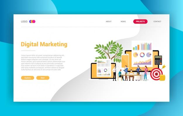Design de campanha de página de destino de negócios de marketing digital