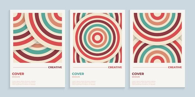 Design de capa abstrata de círculos retrô com cores vintage