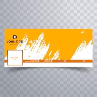 Design de capa abstrata facebook escova laranja