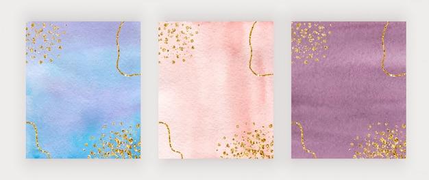 Design de capa aquarela azul, pêssego e bordô com textura de glitter dourados, confetes