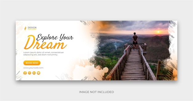 Design de capa de banner social de viagens explore seu sonho