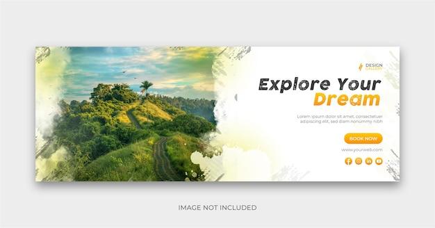 Design de capa de banner social para viagens explore o mundo