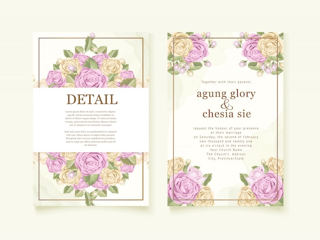 Design de capa de convite de casamento com buquê de rosa