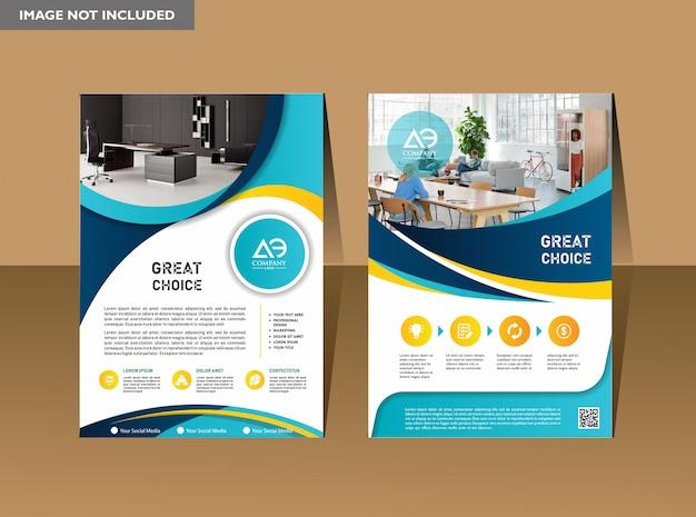 Design de capa de folheto de livro de negócios em a4