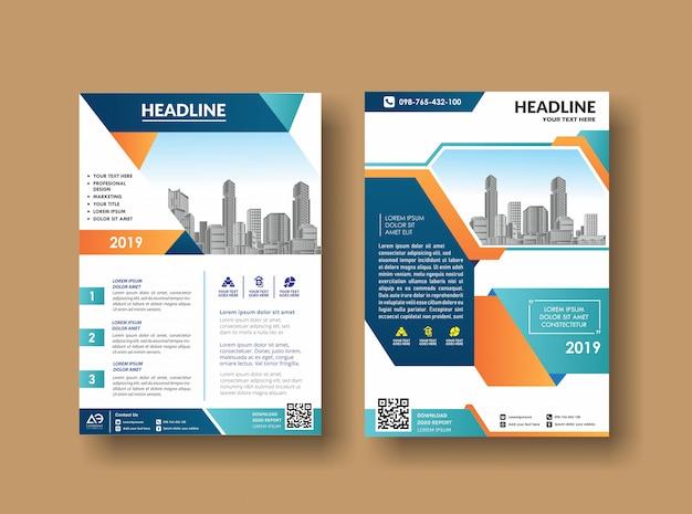 Design de capa de folheto de livro de negócios em revistas a4
