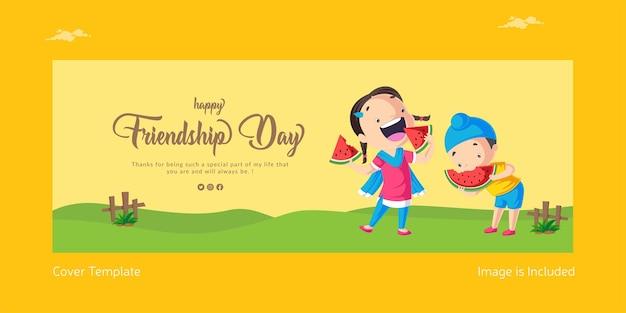 Design de capa de ilustração de estilo de desenho animado feliz dia da amizade