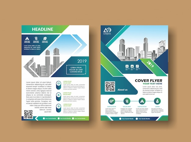 Design de capa de layout brochura de relatório anual