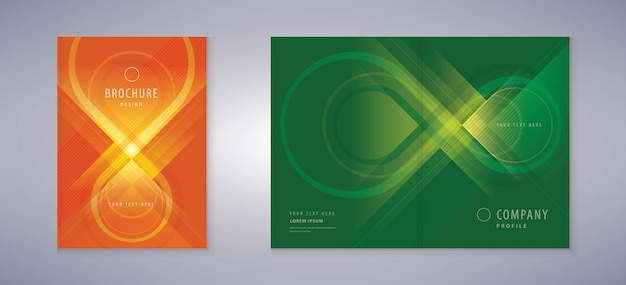 Design de capa de livro, brochuras de modelo fundo verde e vermelho símbolo de infinito