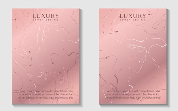 Design de capa de luxo em mármore rosa de ouro