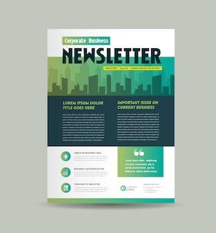 Design de capa de newsletter comercial | design de diário | design de relatório mensal ou anual