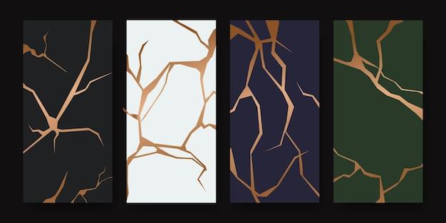 Design de capa kintsugi de restauração dourada. textura de cerâmica de mármore elegante e luxuosa. padrão de rachadura e chão quebrado para parede, pôster, banner, mídia social,