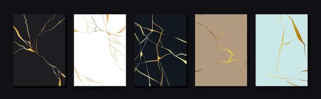 Design de capa kintsugi dourada com textura de mármore dourado de luxo