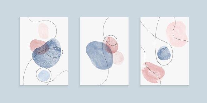 Design de capas à mão livre com formas de pinceladas de aquarela