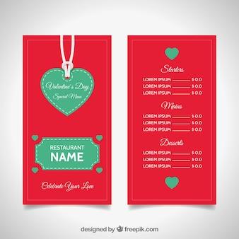 Design de cardápio vermelho e verde dos namorados