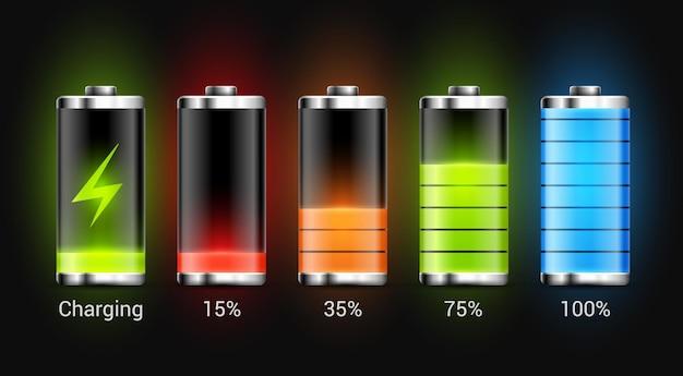 Design de carga da bateria. energia de carga total para telefone celular. indicador de acumulador