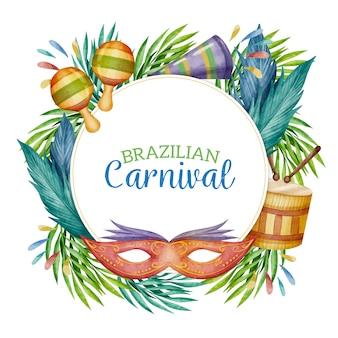 Design de carnaval brasileiro em aquarela e moldura com folhas coloridas