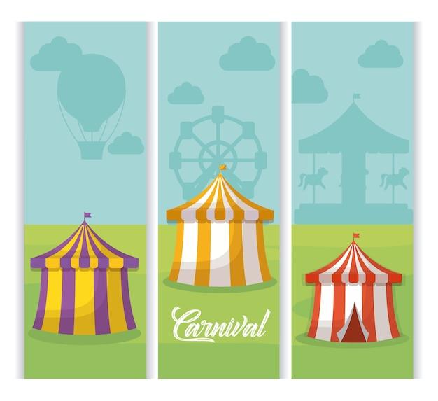 Design de carnaval com tendas de circo