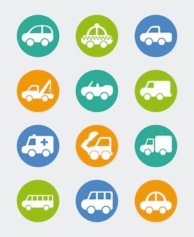 Design de carros sobre ilustração vetorial de fundo azul
