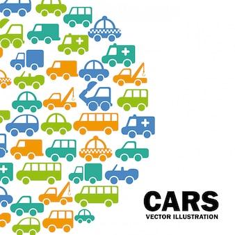 Design de carros sobre ilustração vetorial de fundo branco