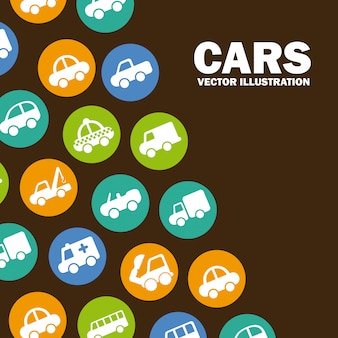 Design de carros sobre ilustração vetorial de fundo marrom