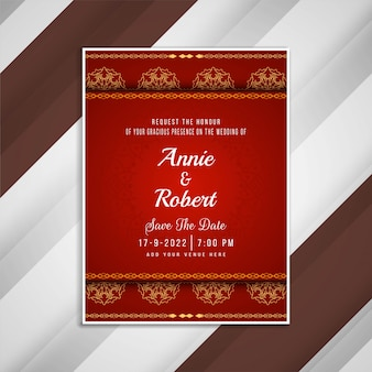 Design de cartão artístico de convite de casamento abstrato