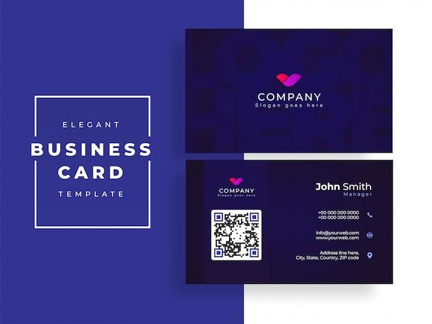 Design de cartão azul ou cartão de visita na vista frontal e traseira.