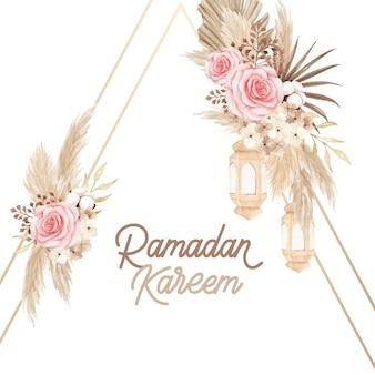 Design de cartão bohemian ramadan kareem