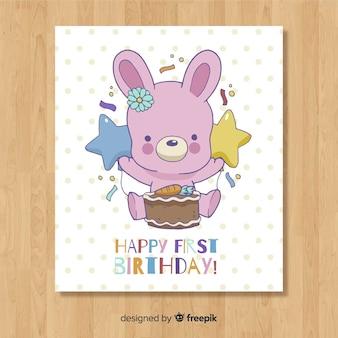 Design de cartão bonito primeiro aniversário