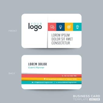 Design de cartão cartão de visita limpo e simples com listras cor no fundo branco