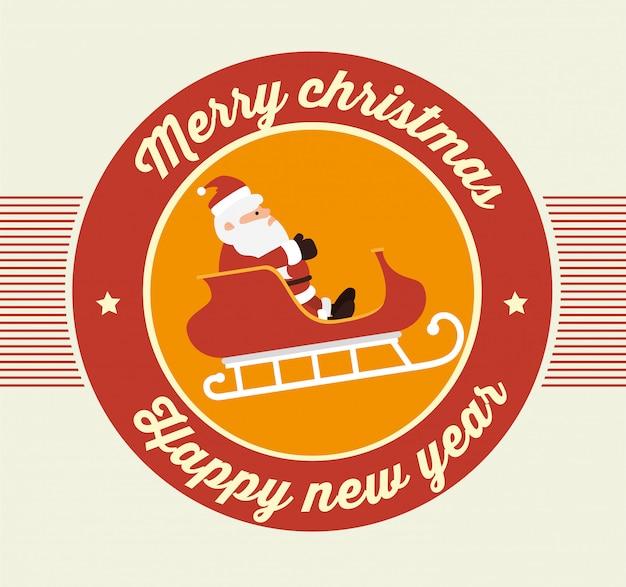 Design de cartão colorido de feliz natal