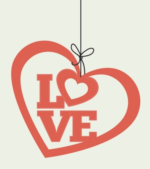 Design de cartão colorido romântico com corações rosa